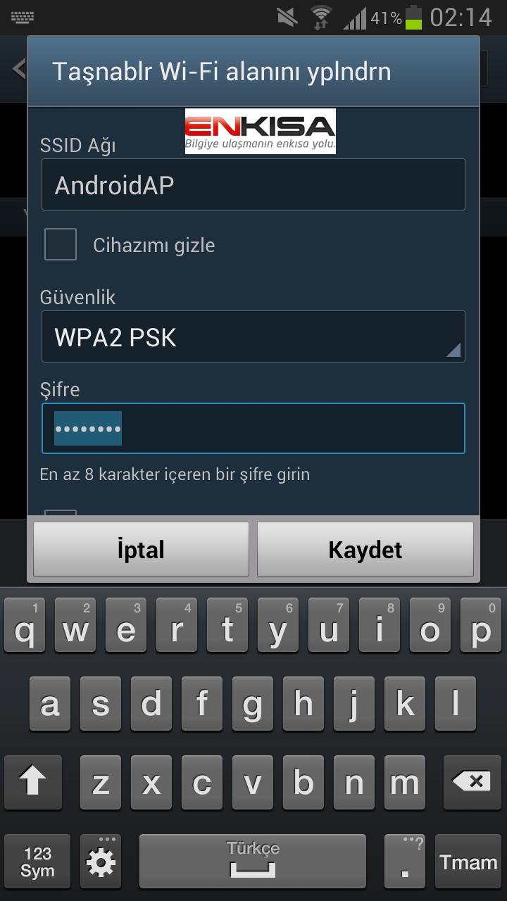 android-wifi-şifresi-değiştirme