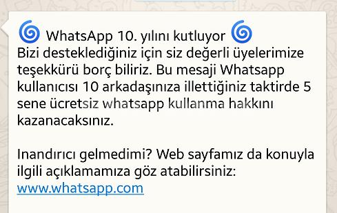 Whatsapp 10. Yıla Özel 5 Yıl Ücretsiz Üyelik Kazanma