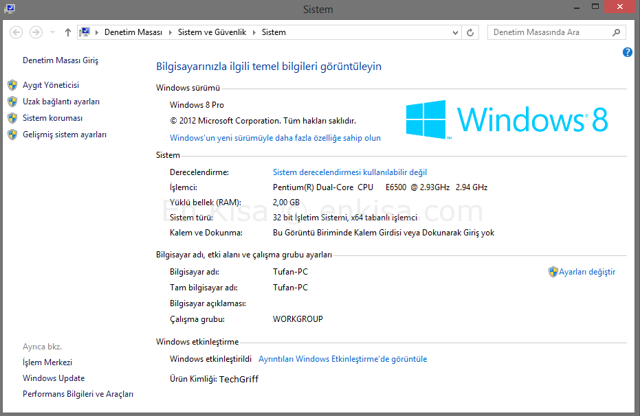 Windows 8 Sistem Özellikleri